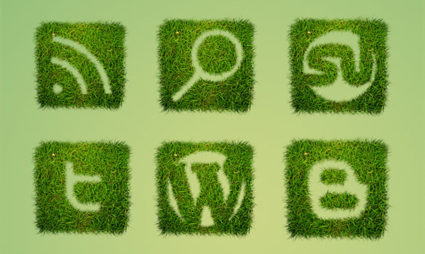 Grass Textured Social Icon Set