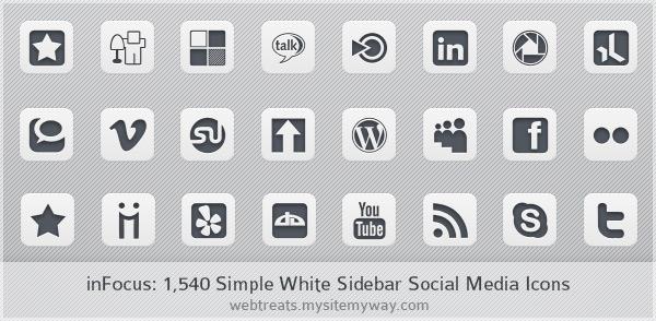 inFocus Simple White Social Media Icons - Sidebar Edition