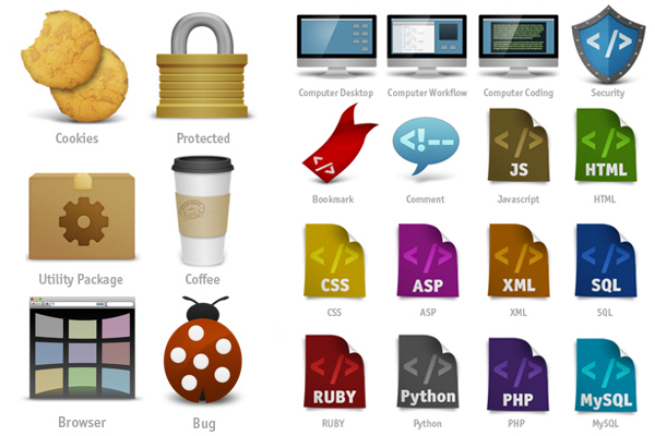Icon Set for Web Developers: Coded