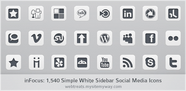inFocus Simple White Social Media Icons - Sidebar Edition