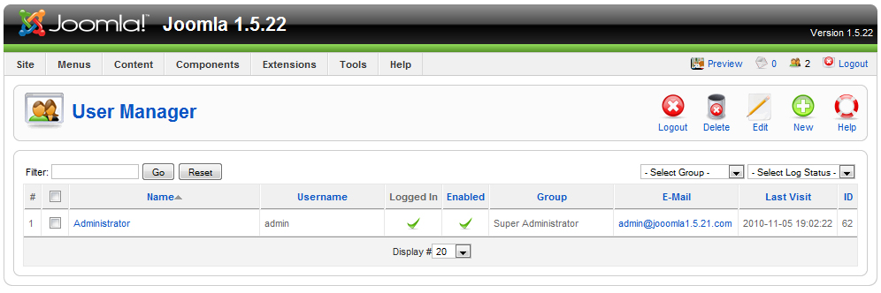 Joomla! User Manager