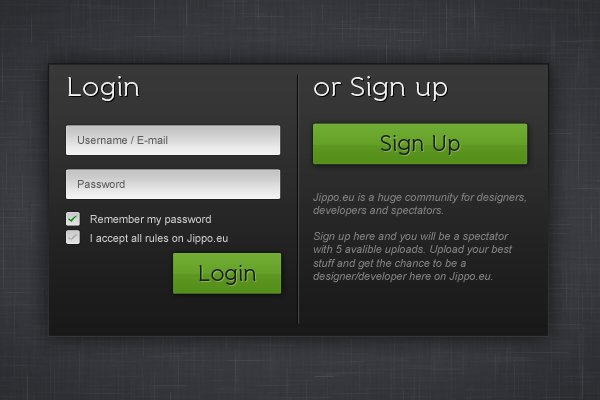 Sign Up / Login page